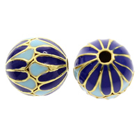 Cloisonne Perlen, Cloisonné, rund, handgemacht, frei von Blei & Kadmium, 12x11mm, Bohrung:ca. 1mm, verkauft von PC