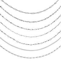 Messing Halskette Gliederkette, silberfarben plattiert, unterschiedliche Länge der Wahl & verschiedene Stile für Wahl, frei von Nickel, Blei & Kadmium, 1-1.8mm, verkauft von Strang