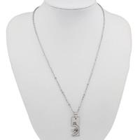 Edelstahl Schmuck Halskette, Rechteck, mit Strass, originale Farbe, 12x30x2mm, Länge:ca. 18.5 ZollInch, verkauft von Paar
