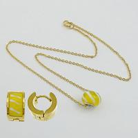 Murano Schmuck Sets, Ohrring & Halskette, Edelstahl, mit Lampwork, goldfarben plattiert, Oval-Kette & Emaille, 10x14mm, 2.5x2mm, 7x12.5x13.5mm, Länge:ca. 17 ZollInch, 10SetsSatz/Menge, verkauft von Menge