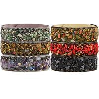 Slake Armband, Faser, mit Edelstein & Zinklegierung, plattiert, natürliche & einstellbar, keine, 20mm, Länge:ca. 8 ZollInch