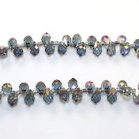 Tropfen Kristallperlen, Kristall, mit Glas-Rocailles, bunte Farbe plattiert, facettierte, 5x8mm, Bohrung:ca. 0.5mm, Länge:ca. 15 ZollInch, 10SträngeStrang/Menge, ca. 100PCs/Strang, verkauft von Menge