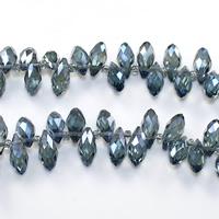Tropfen Kristallperlen, Kristall, mit Glas-Rocailles, facettierte, Aquamarin, 6x12mm, Bohrung:ca. 0.5mm, Länge:ca. 15 ZollInch, 10SträngeStrang/Menge, ca. 100PCs/Strang, verkauft von Menge