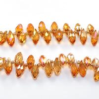 Tropfen Kristallperlen, Kristall, mit Glas-Rocailles, facettierte, Feuer Opal, 6x12mm, Bohrung:ca. 0.5mm, Länge:ca. 15 ZollInch, 10SträngeStrang/Menge, ca. 100PCs/Strang, verkauft von Menge