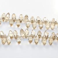 Tropfen Kristallperlen, Kristall, mit Glas-Rocailles, facettierte, 6x12mm, Bohrung:ca. 0.5mm, Länge:ca. 15 ZollInch, 10SträngeStrang/Menge, ca. 100PCs/Strang, verkauft von Menge