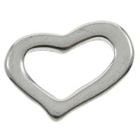 Edelstahl Verbindungsring, Herz, originale Farbe, 17x12x1mm, Bohrung:ca. 11.7x6.5mm, 200PCs/Tasche, verkauft von Tasche