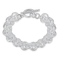 comeon® Schmuck Armband, Messing, versilbert, Doppelgliederkette, frei von Nickel, Blei & Kadmium, 10mm, verkauft per ca. 8 ZollInch Strang