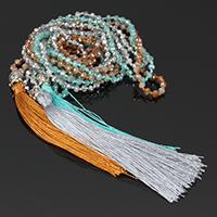 Buddhistischer Schmuck Halskette, Kristall, mit Nylonschnur & Zinklegierung, QuasteTroddel, plattiert, facettierte, mehrere Farben vorhanden, 90mm,8.5x10x8mm,3x4mm, Länge:ca. 30 ZollInch, 5SträngeStrang/Menge, verkauft von Menge