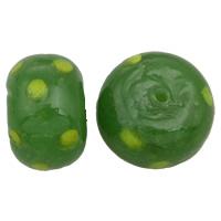 Handgewickelte Perlen, Lampwork, Rondell, handgemacht, grün, 10x15mm, Bohrung:ca. 2mm, 10PCs/Tasche, verkauft von Tasche