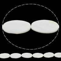 Natürliche weiße Muschelperlen, flachoval, 15x25x4mm, Bohrung:ca. 1mm, Länge:ca. 15 ZollInch, 10SträngeStrang/Tasche, ca. 13PCs/Strang, verkauft von Tasche