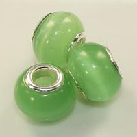 Katzenauge European Perlen, Trommel, Platinfarbe platiniert, Messing-Dual-Core ohne troll, keine, 10x14mm, Bohrung:ca. 5mm, 100PCs/Menge, verkauft von Menge