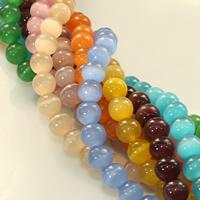 Cats Eye Perlen Schmuck, Katzenauge, rund, keine, 8mm, Bohrung:ca. 1mm, Länge:ca. 14 ZollInch, 20SträngeStrang/Menge, ca. 48PCs/Strang, verkauft von Menge