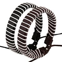 Rindsleder Armband, Kuhhaut, mit Gewachsten Baumwollkordel, einstellbar, keine, 10mm, Länge:ca. 6.6 ZollInch, 50SträngeStrang/Menge, verkauft von Menge