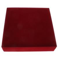 Baumwollsamt Halskettenkasten, mit Karton, Quadrat, rot, 188x45x188mm, verkauft von PC