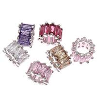 Kubischer Zirkonia Messing Perlen, Trommel, Platinfarbe platiniert, mit kubischem Zirkonia & facettierte & großes Loch, keine, frei von Blei & Kadmium, 6x9mm, Bohrung:ca. 6mm, verkauft von PC