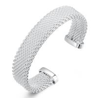 comeon® Schmuck Armband, Messing, versilbert, offen, frei von Nickel, Blei & Kadmium, 15mm, Innendurchmesser:ca. 65mm, Länge:ca. 8 ZollInch, verkauft von PC
