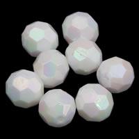 Plattierte Acrylperlen, Acryl, rund, bunte Farbe plattiert, imitiertes Porzellan & facettierte, weiß, 10mm, Bohrung:ca. 1mm, ca. 1000PCs/Tasche, verkauft von Tasche