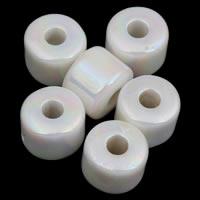 Plattierte Acrylperlen, Acryl, Zylinder, bunte Farbe plattiert, imitiertes Porzellan, weiß, 7x5mm, Bohrung:ca. 2mm, ca. 2000PCs/Tasche, verkauft von Tasche
