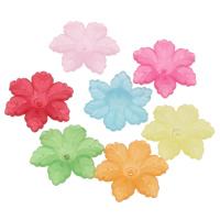 Acryl Perlkappen, Blume, satiniert & transluzent, gemischte Farben, 21x19x5mm, Bohrung:ca. 1mm, ca. 750PCs/Tasche, verkauft von Tasche
