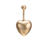 Gets® Schmuck-Bauch-Ring, Messing, Herz, 18 K vergoldet, frei von Nickel, Blei & Kadmium, 16x32mm, verkauft von PC