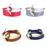 Rindsleder Armband, Kuhhaut, mit Zinklegierung, Anker, plattiert, nautische Muster & 4-Strang, keine, frei von Nickel, Blei & Kadmium, verkauft per ca. 25.6 ZollInch Strang