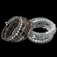 Memory Wire Armband, Kristall, mit Natürliche kultivierte Süßwasserperlen, natürlich, facettierte, mehrere Farben vorhanden, 6-7mm, 65x30mm, Innendurchmesser:ca. 53mm, verkauft per ca. 6.5 ZollInch Strang