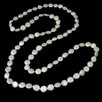 Natürliche Süßwasser Perle Halskette, Natürliche kultivierte Süßwasserperlen, Münze, weiß, 12-13mm, verkauft per ca. 45.5 ZollInch Strang