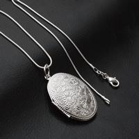 Mode Medaillon Halskette, Messing, flachoval, versilbert, Schlangekette, frei von Blei & Kadmium, 27x38mm, verkauft per ca. 15.5 ZollInch Strang