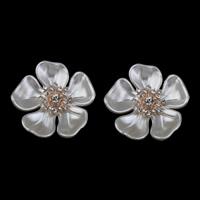 Schmuckzubehör, ABS-Kunststoff-Perlen, mit Zinklegierung, Blume, goldfarben plattiert, mit Strass, weiß, 38x8mm, Bohrung:ca. 1mm, 3PCs/Tasche, verkauft von Tasche