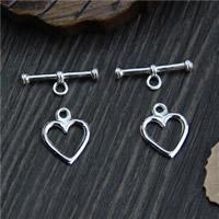 Sterling Silber Knebelverschluss, 925 Sterling Silber, Herz, 11.1mm, 18.2mm, 5SetsSatz/Menge, verkauft von Menge