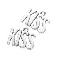 Zinklegierung Buchstaben Anhänger, Wort-Kuss, antik silberfarben plattiert, frei von Nickel, Blei & Kadmium, 18x22mm, Bohrung:ca. 2mm, 300PCs/Tasche, verkauft von Tasche