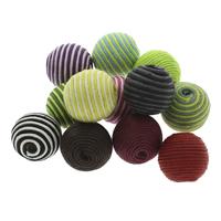 Gewebte Glasperlen, Gewachste Hanfschnur, mit Holz, rund, handgemacht, großes Loch, gemischte Farben, 22x20mm, Bohrung:ca. 4mm, 100PCs/Tasche, verkauft von Tasche