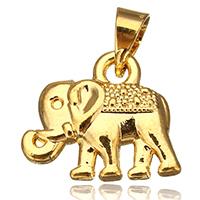 Messing Schmuck Anhänger, Elephant, vergoldet, frei von Nickel, Blei & Kadmium, 14x12x3mm, Bohrung:ca. 4x4mm, verkauft von PC