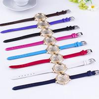 Damen Armbanduhr, PU Leder, mit Glas & Zinklegierung, plattiert, mit einem Muster von Schmetterling & einstellbar & mit Strass, keine, frei von Nickel, Blei & Kadmium, 30mm, Länge:ca. 9 ZollInch, verkauft von PC