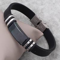 Herren-Armband & Bangle, Edelstahl, mit Silikon, plattiert, 12x23x5mm, verkauft per ca. 7.5 ZollInch Strang