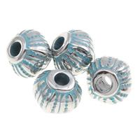 Verkupfertes Kunststoff-Perlen, Verkupferter Kunststoff, Trommel, Bläu, 8x7mm, Bohrung:ca. 1mm, 1000PCs/Tasche, verkauft von Tasche