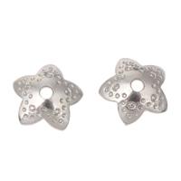 Edelstahl Perle Kappe, Blume, originale Farbe, 8x2mm, Bohrung:ca. 1mm, 500PCs/Tasche, verkauft von Tasche