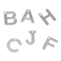 Edelstahl Brief Anhänger, verschiedene Muster für Wahl, originale Farbe, 6x11x1mm-12x11x1mm, Bohrung:ca. 1mm, 500PCs/Tasche, verkauft von Tasche