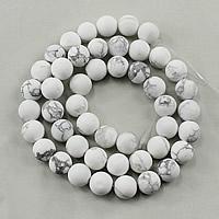 Natürlicher weißer Türkis Perle, rund, verschiedene Größen vorhanden & satiniert, Bohrung:ca. 1-2mm, verkauft per ca. 15.5 ZollInch Strang
