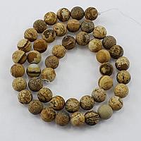 Bild Jaspis Perlen, rund, natürlich, verschiedene Größen vorhanden & satiniert, Bohrung:ca. 1-2mm, Länge:ca. 15.5 ZollInch, verkauft von Menge
