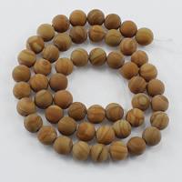 Holzmaserung Stein Perlen, Grain Stein, rund, natürlich, verschiedene Größen vorhanden & satiniert, Bohrung:ca. 1-2mm, Länge:ca. 15 ZollInch, verkauft von Menge