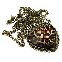 Zinklegierung Pullover Halskette, mit Acryl, Herz, antike Bronzefarbe plattiert, Oval-Kette & facettierte & Leopard Muster, frei von Nickel, Blei & Kadmium, 31x33x6mm, 4x3x2mm, verkauft per ca. 27.5 ZollInch Strang