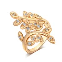 Gets® Finger Ring, Messing, Blatt, vergoldet, verschiedene Größen vorhanden & mit kubischem Zirkonia, frei von Nickel, Blei & Kadmium, 33mm, verkauft von PC