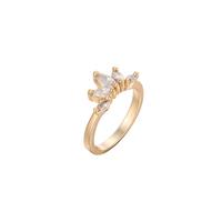 Gets® Finger Ring, Messing, Blume, vergoldet, verschiedene Größen vorhanden & mit kubischem Zirkonia & facettierte, frei von Nickel, Blei & Kadmium, 8mm, verkauft von PC