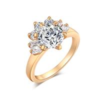 Gets® Finger Ring, Messing, Blume, vergoldet, verschiedene Größen vorhanden & mit kubischem Zirkonia & facettierte, frei von Nickel, Blei & Kadmium, 13mm, verkauft von PC