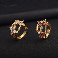 Gets® Finger Ring, Messing, Blume, vergoldet, verschiedene Größen vorhanden & mit kubischem Zirkonia & facettierte, keine, frei von Nickel, Blei & Kadmium, 14mm, verkauft von PC