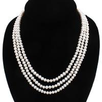 Natürliche Süßwasserperlen Halskette, Natürliche kultivierte Süßwasserperlen, Messing Haken und Augen Verschluss, rund, weiß, 5-6mm, verkauft per 15.5 ZollInch Strang