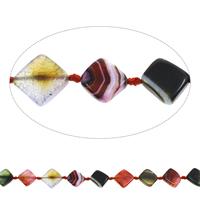 Geknister Achat Perle, Rhombus, gemischte Farben, 25x5mm-29x6mm, Bohrung:ca. 1mm, ca. 13PCs/Strang, verkauft per ca. 15.5 ZollInch Strang