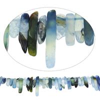 Geknister Achat Perle, Klumpen, blau, 6x20mm-8x50mm, Bohrung:ca. 1.5mm, ca. 45PCs/Strang, verkauft per ca. 15.5 ZollInch Strang