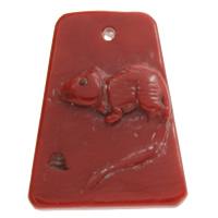 Koralle Anhänger, Natürliche Koralle, Rechteck, natürlich, geschnitzed, rot, 29x37x5mm, Bohrung:ca. 1mm, verkauft von PC